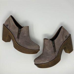 Born Famke Shoes Platform Ankle Booties Side Zip